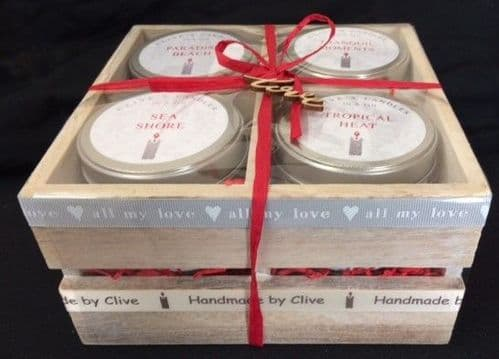 4 Candle Wooden Gift Crate - 'all my love'