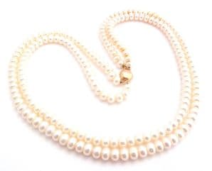9ct Gold And Cultured Pearl Double Stranded Choker Necklace.