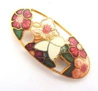 Cloisonne Enamel Butterfly And Flower Brooch By Sea Gems