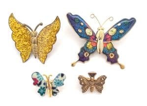 Collection Of Four Vintage Butterfly Design Brooches,