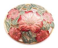 Fish And Crown Red Flower Cloisonne Enamel Brooch