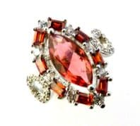Sterling Silver And Ruby Coloured Rhinestone Dress Ring.