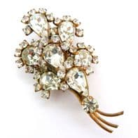 Vintage Abstract Floral Layered Rhinestone Statement Design Posy Brooch
