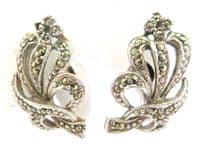 Vintage Art Deco Abstract Floral Design Screw Back Earrings By Uncas.