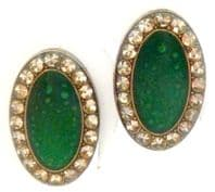 Vintage Art Deco Design Green Enamel And Rhinestone Clip On Earrings By Pierre Bex.