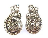 Vintage Art Deco Sterling Silver And Marcasite Climbing Spiral Clip On Earrings.