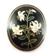 Vintage Black Cloisonne Enamel Floral Design Brooch By Fish And Crown.