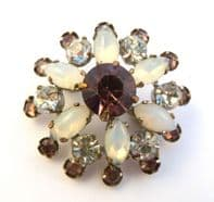 Vintage Dainty Rhinestone And Opal Glass Floral Brooch.