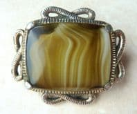 Vintage Faux Agate Art Glass Brooch By Miracle.