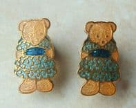 Vintage Fish And Crown, Prue Theobald Teddy Bear Earrings.