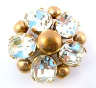 Vintage Gold And Rhinestone Flower Brooch.