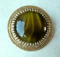 Vintage Green Art Glass Circular Brooch By Sphinx