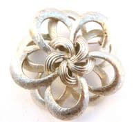 Vintage Large Layered Silver Flower Brooch By Corocraft.
