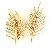 Vintage Large Leaf Design Clip On Earrings By Jewelcraft