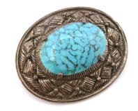 Vintage Miracle Celtic Style Turquoise Stone Brooch