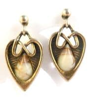 Vintage Miracle Heart Shaped Celtic Drop Agate Stone  Earrings.