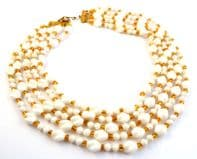 Vintage Multi-Stranded Milk Glass And AmberBead Statement Necklace.