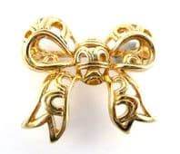 Vintage Open Work Bow Brooch