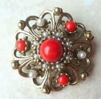 Vintage Ornate Pearl And Red Stone Flower Brooch By Miracle