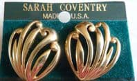 Vintage Sarah Coventry Cut Away Scallop Gold Tone Earrings