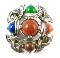 Vintage Scottish Celtic Style Faux Gemstone Brooch By Miracle.