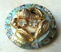 Vintage Seaside Memories, Abalone, Rhinestone And Gold Shell Brooch.