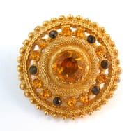 Vintage Sphinx Raised Amber Rhinestone Brooch.