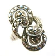 Vintage Sterling Silver And Marcasite Art Deco Revival Style Ring.