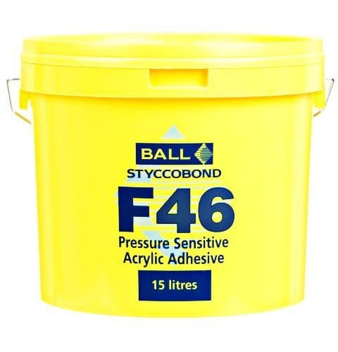 F Ball Styccobond F46 15 Ltr Pressure Sensitive Acrylic Adhesive | £62.99 + Vat