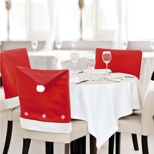 1-20 Pack Santa Hat with Snowflakes Chair Covers