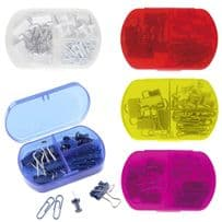 3 Piece Mini Stationary Set with Bulldog / Paper Clips and Push Pins