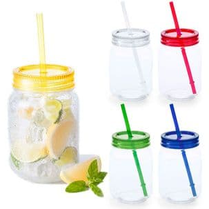 600ml Plastic Mason Jar & Straw