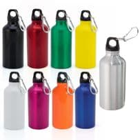 Aluminium Drinking Water Bottle with Screw Cap and Carabiner