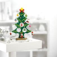 Mini Traditional Wooden Christmas Tree with 12 Hanging Decorations
