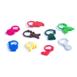 Mixed 9 Piece Christmas Themed Silicone Wine Glass Tags Drink Identifier Marker Ring Charms