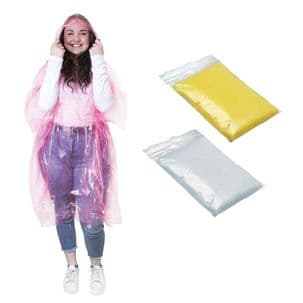 Mixed Pack of 3 Ponchos - Clear, Pink & Yellow