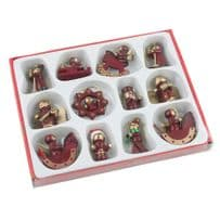 Pack of 12 Christmas Tree Wooden Hand Painted Decoration  - Hanging Mini Wooden Tree Decoration
