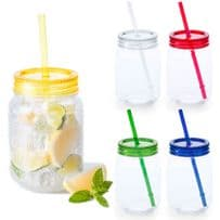 Pack of 2 600ml Plastic Mason Jar & Straw