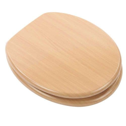 Arley Beech Willow Wood Effect MDF Easy Clean Toilet Seat - 237206BH