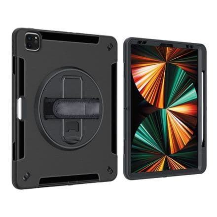 """Rugged 360 grip case for the Apple iPad Pro 12.9"""" 2018 / 2020 / 2021 with tempered glass protector"""