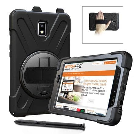Rugged case for Samsung Tab Active2 8.0 T390 / T3 hand/shoulder strap, kick stand & screen protector