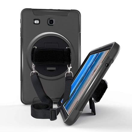 Rugged case for Samsung Tab E9.6 T560 / T565 with hand/shoulder strap, kick stand & screen protector