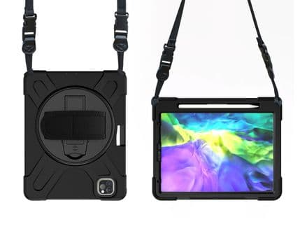 Rugged case for iPad 10.9 and Pro 11 2018/20/21 with hand & shoulder strap & glass screen protector