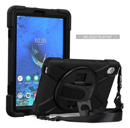 Rugged case for Lenovo Tab M8 FHD with hand/shoulder strap and kick stand