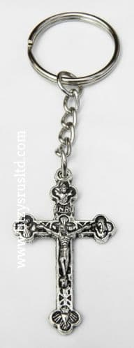 100 x Cross Crucifix Jesus Keyrings Holy Religious Silvertone Key Rings Catholic