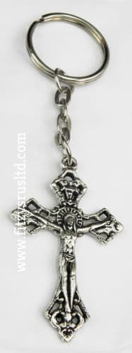 100 x Cross Crucifix Jesus Metal Keyring Holy Religious