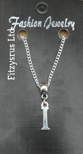 """18"""" or 24 Inch Chain Necklace & Alphabet Letter I Pendant / Charm Name Initial"""