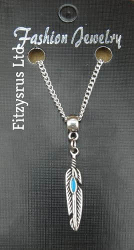 """18"""" or 24 Inch Chain Necklace & Feather Pendant / Charm - Gift Souvenir - New"""