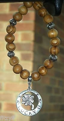 4 Leaf Lucky Clover Pendant & In Car Wood Wooden Beads Four Charm