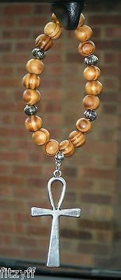 Ankh Pendant & In Car Wood Wooden Beads Key of Life The Nile Crux Ansata Charm
